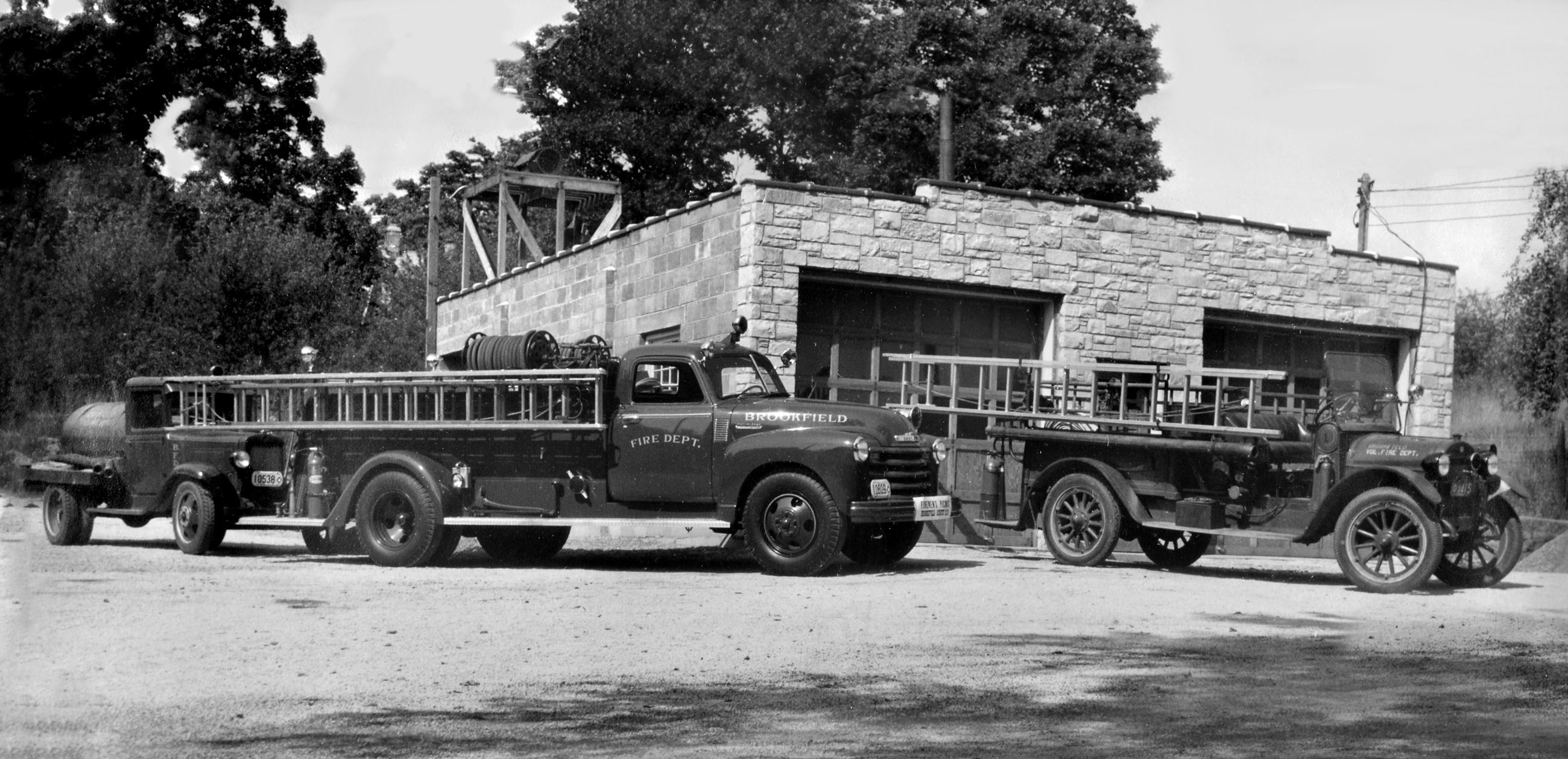 1947 Fire Station and Trucks - BW