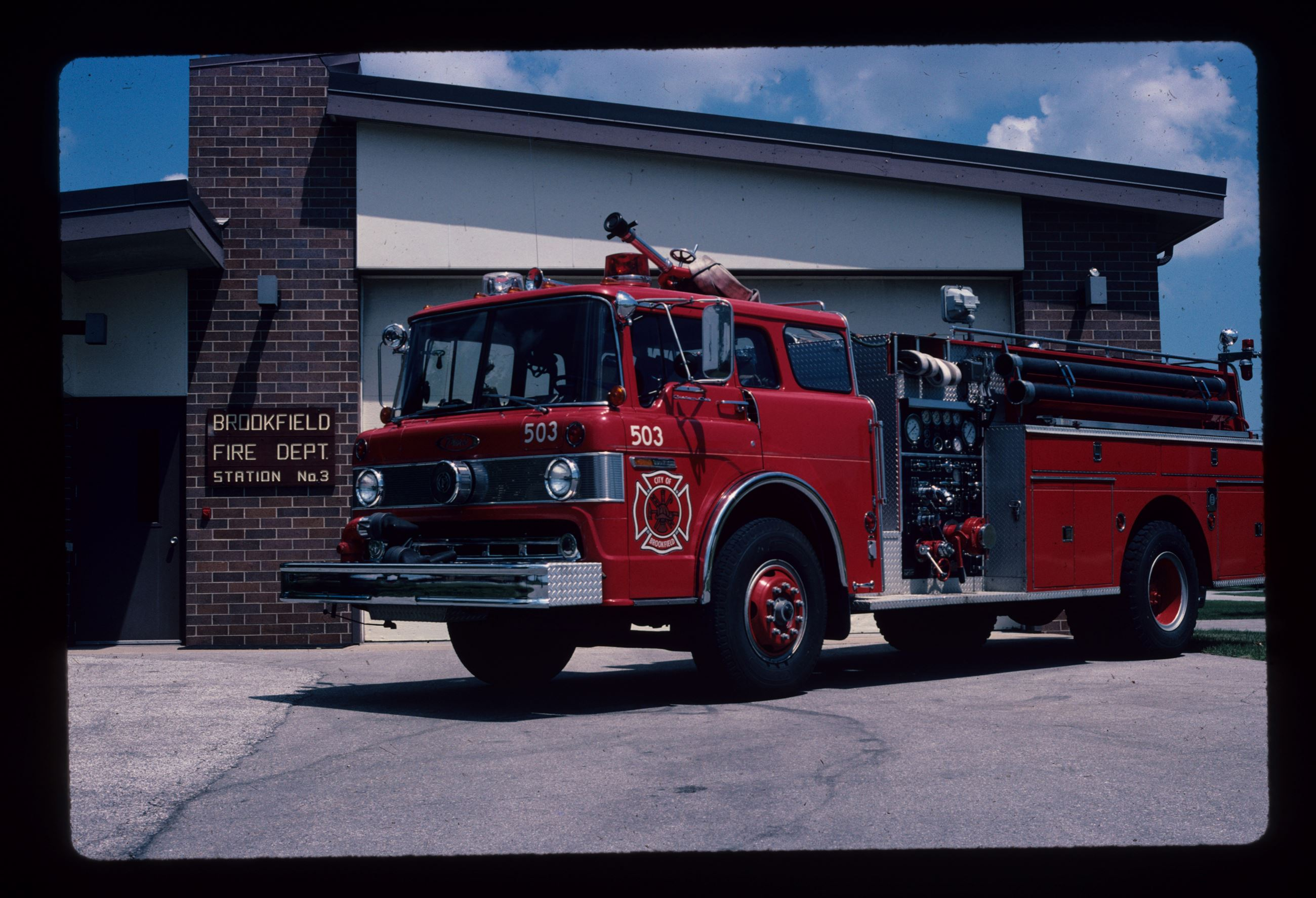1976 Pierce Arrow Engine 503 in front of Old Station 3