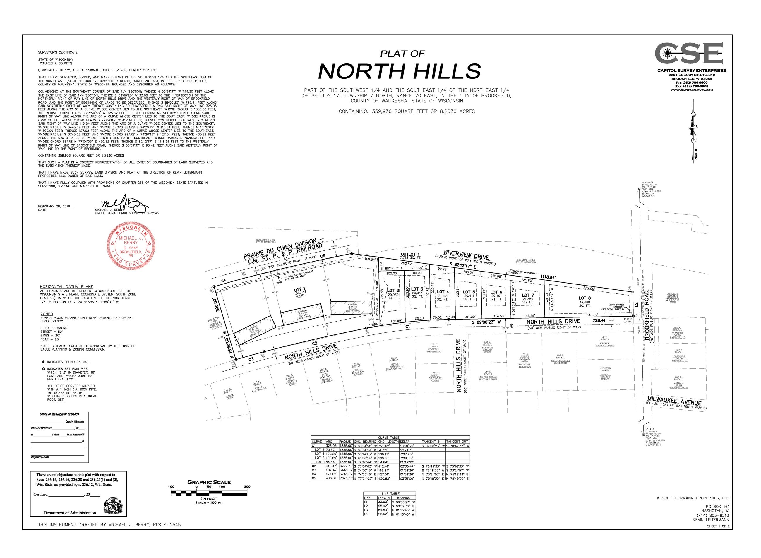 North Hills Final Plat-0-13-008 SHEET 1